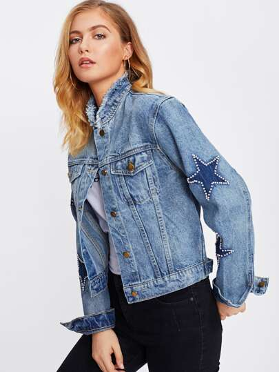 Bleach Wash Frayed Neckline Denim Jacket