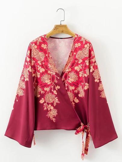 Self Tie Surplice Floral Kimono
