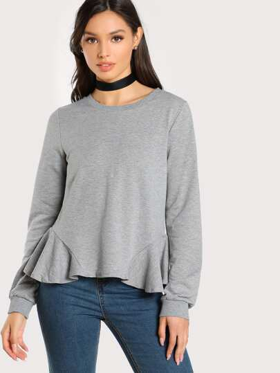 Ruffle Hem Heather Knit Pullover