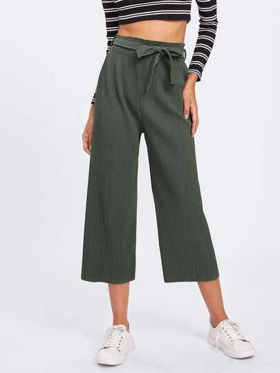 Pantalones de canalé con cinturón