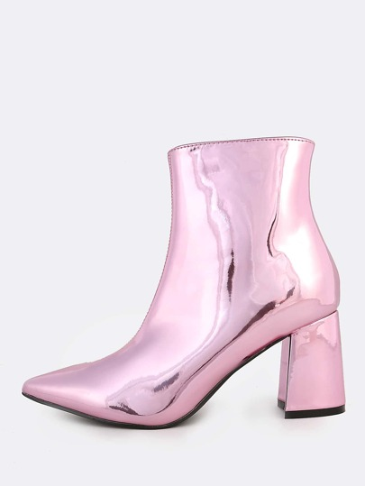 Metallic Point Toe Booties PINK