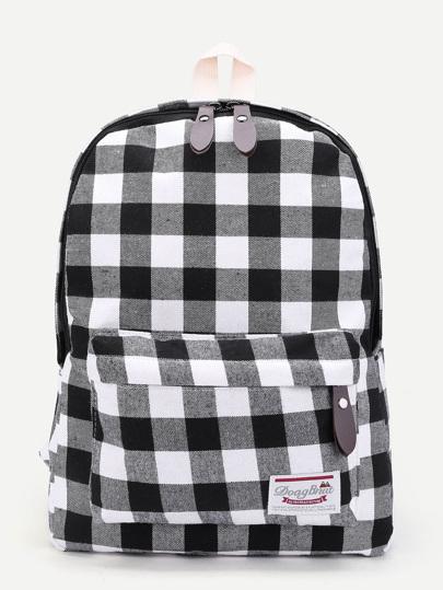 Gingham Print Double Zipper Backpack