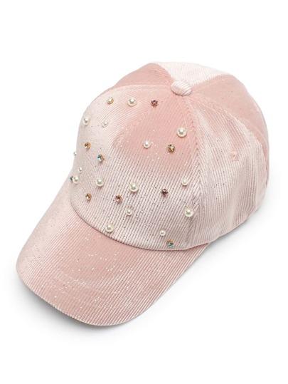 Gorra de béisbol de pana con perla