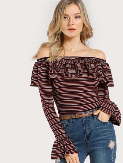 Rib Knit Striped Frill Off Shoulder T-shirt