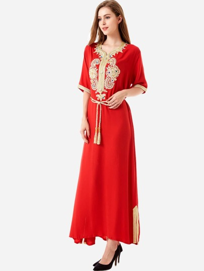 Contrast Trim Rhinestone Appliques Hijab Dress