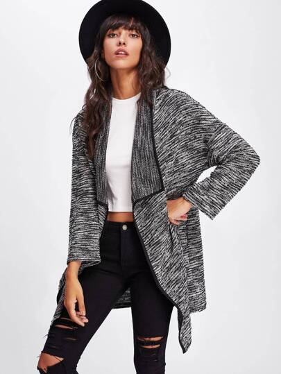 Contrast Binding Drape Collar Marled Knit Coat