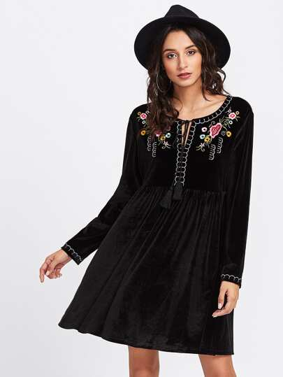 Tassel Tie Neck Embroidered Velvet Smock Dress
