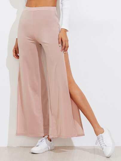 Pantalones con abertura y pernera ancha