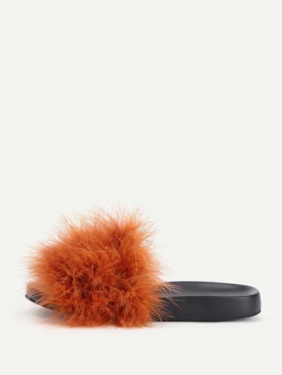 Sandali con pelliccia ecologica