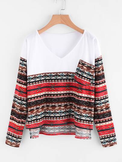 Aztec Print Contrast Panel High Low Tee
