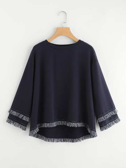 Tiered Fringe And Tape Patch Trim Dip Hem Sweatshirt