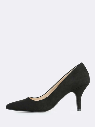 Point Toe Faux Suede Pumps BLACK