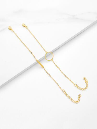 Ring & Bar Design Chain Bracelet