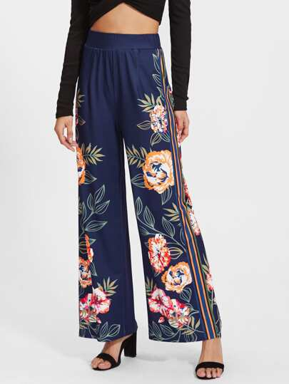 Striped And Floral Palazzo Pants