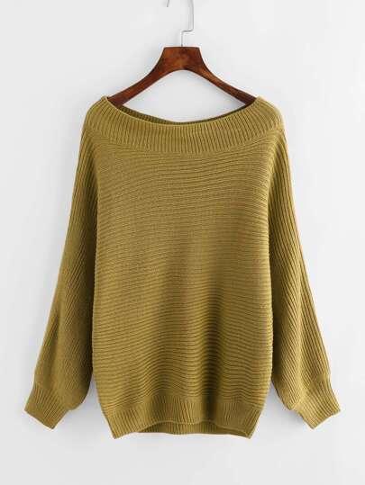 Boat Neckline Textured Knit Sweater