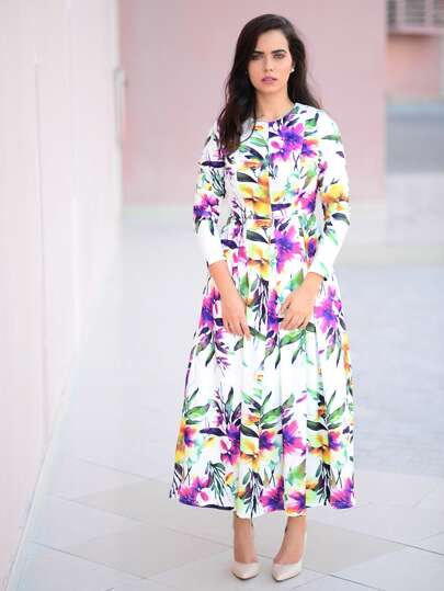 Vestido manga larga flores -multicolor
