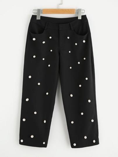 Модные брюки с бусинами