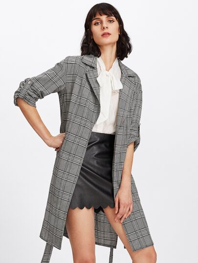 Roll Sleeve Self Belted Plaid Coat