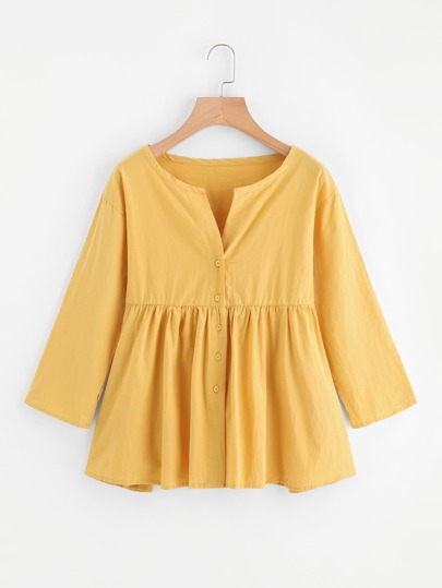 Button Front Smock Blouse