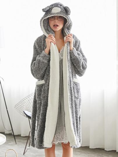 Contrast Lined Plush Hooded Koala Robe