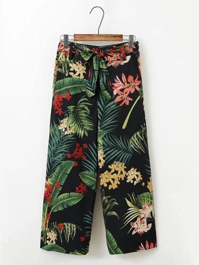 Jungle Print Tied Waist Pants