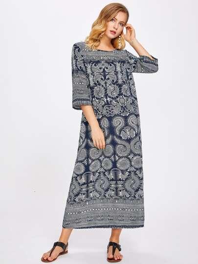 Langlinie Kleid mit Stammmuster