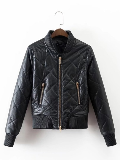 Zipper Up Quilted PU Jacket