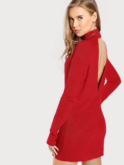 High Neck Back Cut Out Dress RED