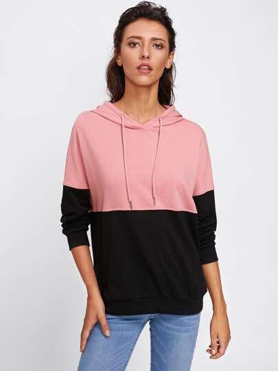 Camisa de capucha con costura en dos tonos