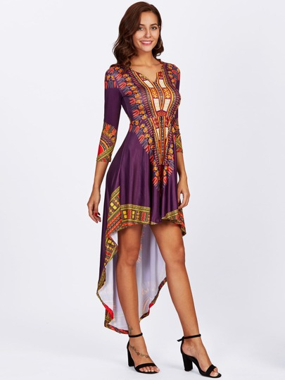 Tribal Print Dip Hem Dress