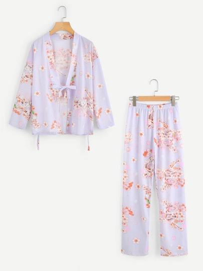 Calico & Cat Print Kimono Pajama Set