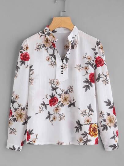 Flower Print Mock Neck Button Front Shirt