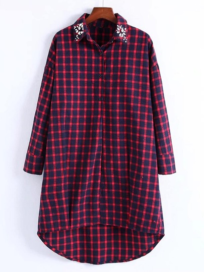 Rhinestone Detail Gingham High Low Shirt Dress
