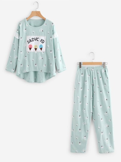 Ice Cream Print Long Pajama Set