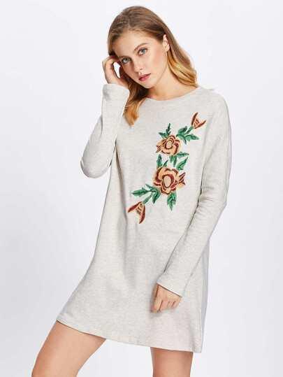 Flower Embroidered Heather Knit Sweatshirt Dress
