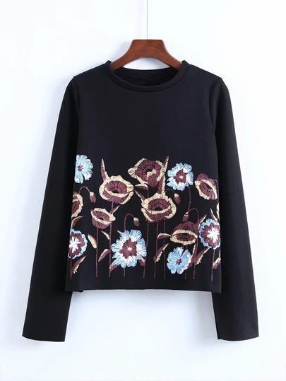 Sweat-shirt brodé des fleurs