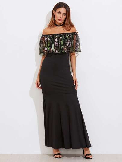 Embroidered Mesh Flounce Trim Fishtail Dress