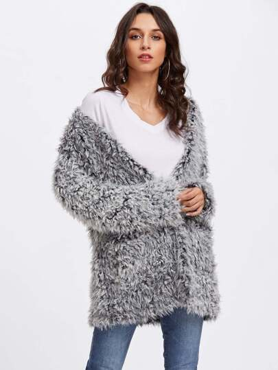 Open Front Fuzzy Faux Fur Coat