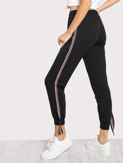 Side Hanging Striped Jogger Pants BLACK