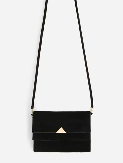 Triangle Metal Detail PVC Crossbody Bag