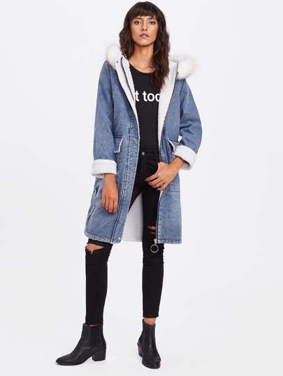 Faux Shearling-Lined Hooded Denim Jacket