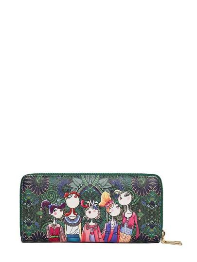 حقيبة محفظة اخضر بطباعة الكرتون