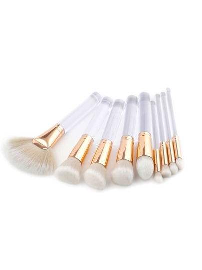 Clear Handle Makeup Brush 9pcs