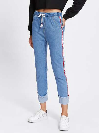 Roll Up Hem Contrast Trim Drawstring Waist Jeans