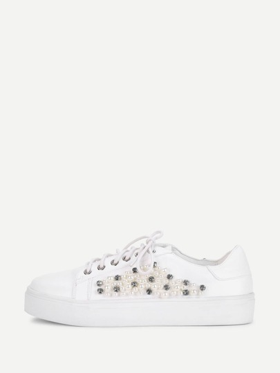Rhinestones & Faux Pearl Decorated Sneaker