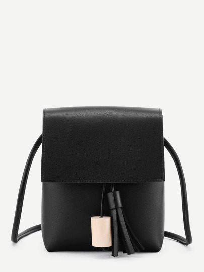 Tassel Detail Flap Pouch Bag