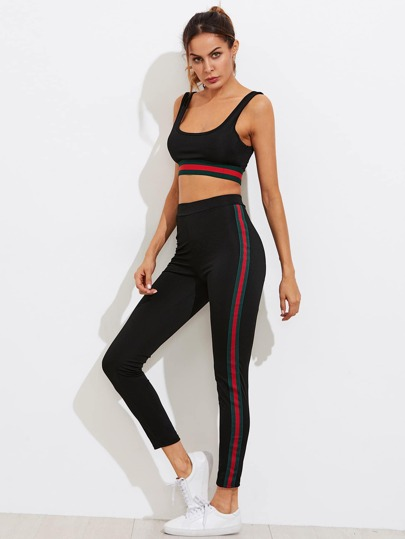 Striped Tape Detail Gym Bar With Leggings