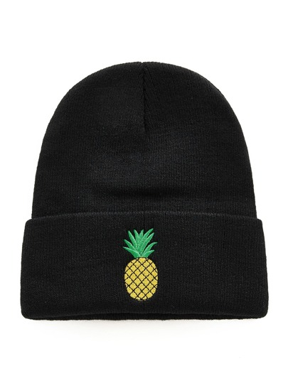 Embroidered Pineapple Beanie Hat