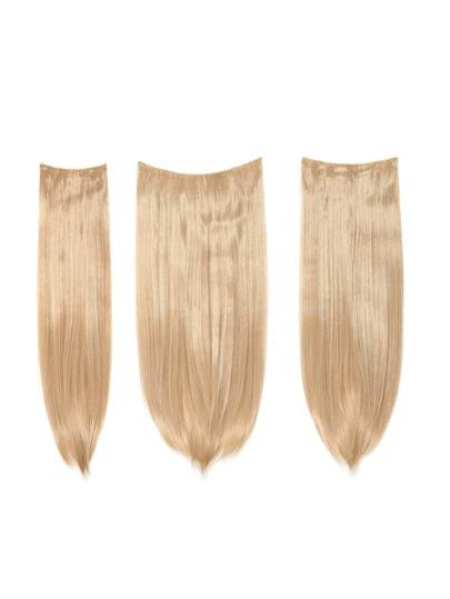 3 piezas de extensión de pelo recto rubio champán