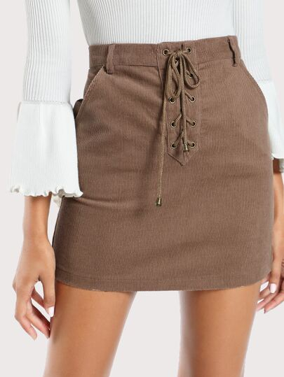 Lace up Corduroy Skirt COCOA